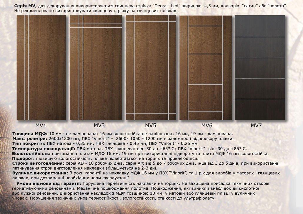 Дверные накладки МДФ на металлические двери MV_1-7