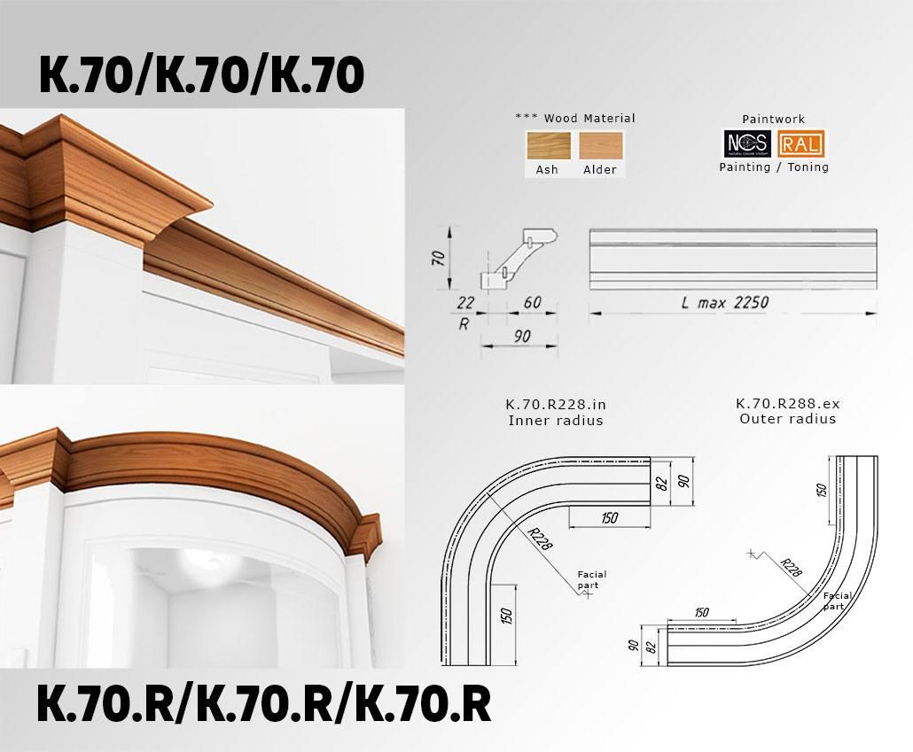 Техническое описание карниза с массива дерева K.70