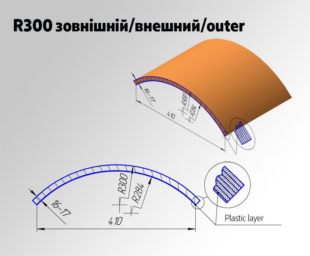 Радиусный МДФ фасад R300 Внешний для кухни и мебели