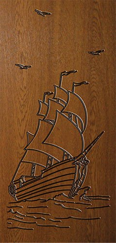 Дверная накладка МДФ с художественной гравировкой на металлические двери AE2