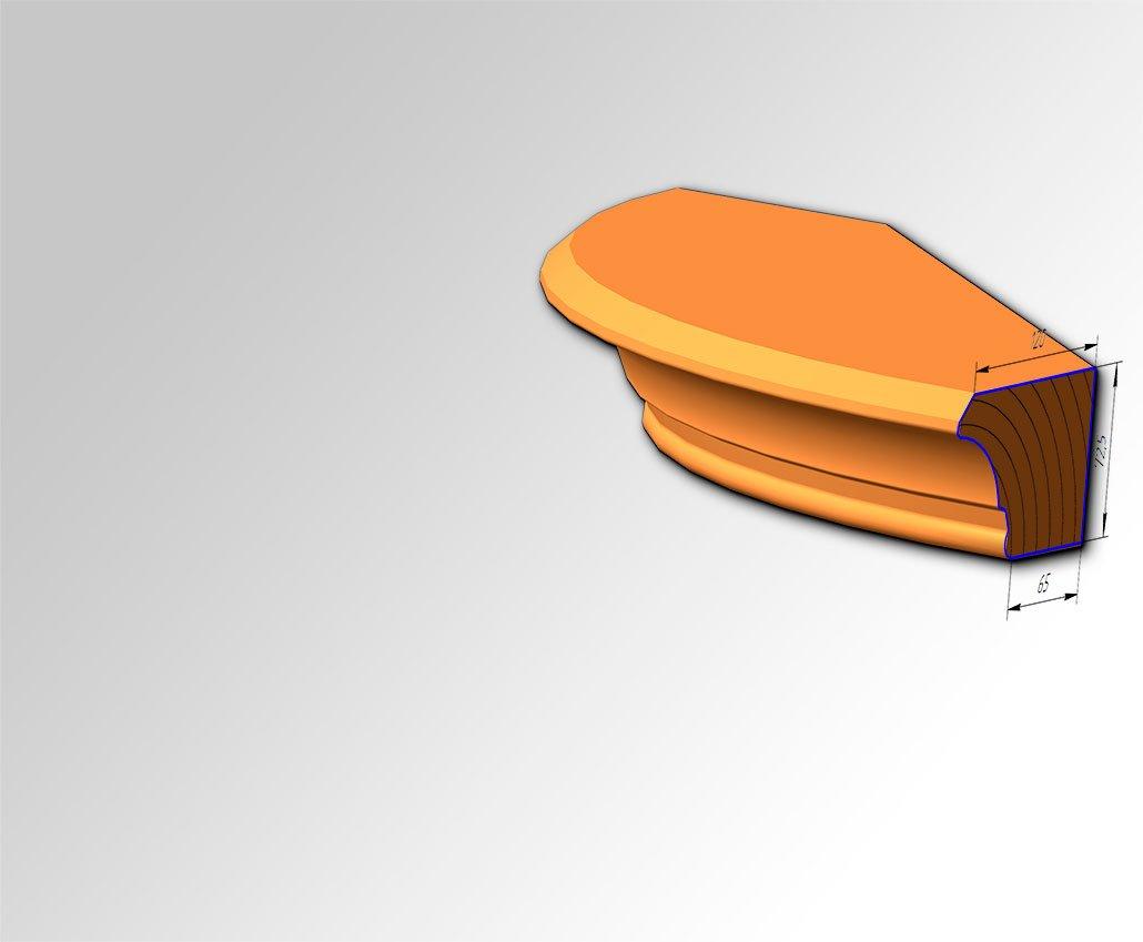 Мебельный внешне радиусный карниз №4 для кухонь с фасадами Полифасад