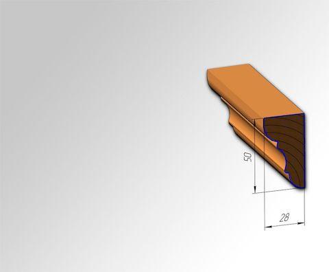 Мебельный штапик №2 для кухонь с фасадами Полифасад