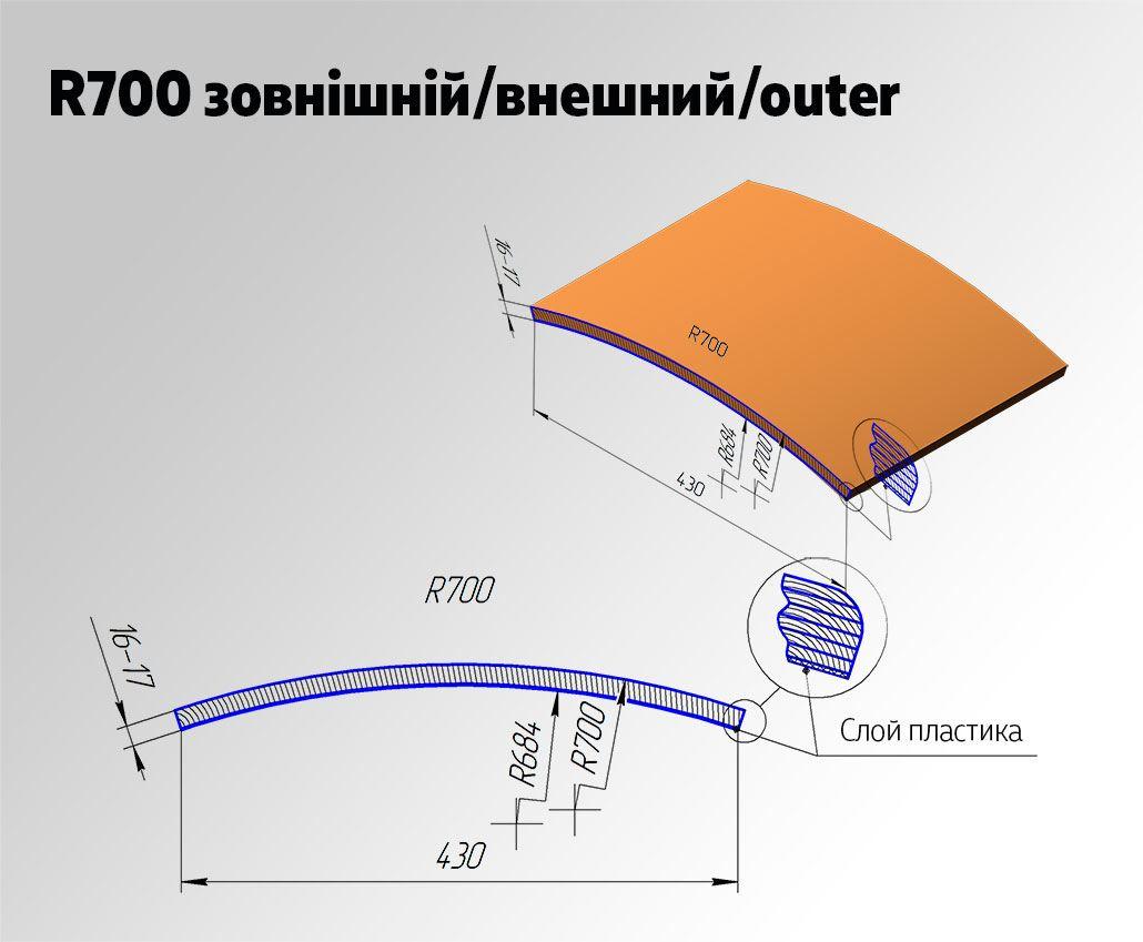 Радиусный МДФ фасад R700 Внешний для кухни и мебели