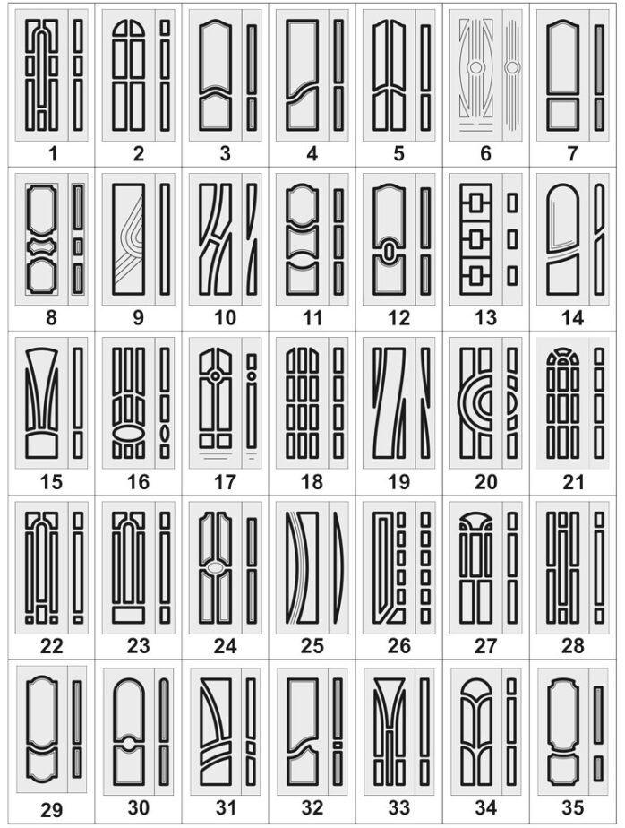 Дверные накладки МДФ на металлические двери 1-35
