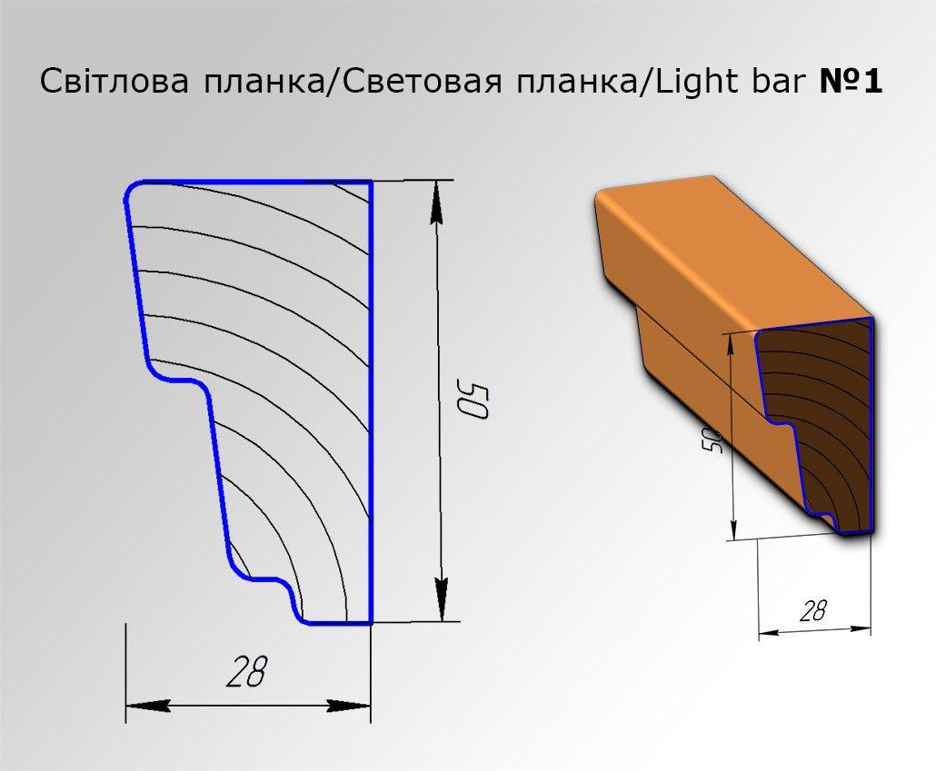 Мебельная световая планка №1 для кухонь с фасадами Полифасад